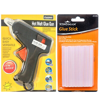 Hot Melt Glue Gun 15 W with 20 Clear Glue Sticks for Arts Craft SHIP FROM USA