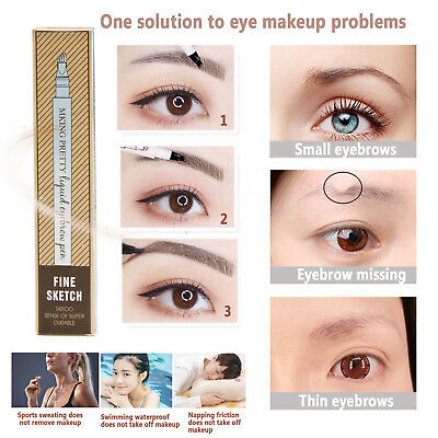 Waterproof Microblading Tattoo Eyebrow Liquid Ink Pen 4/3 Fork Pencil Definer