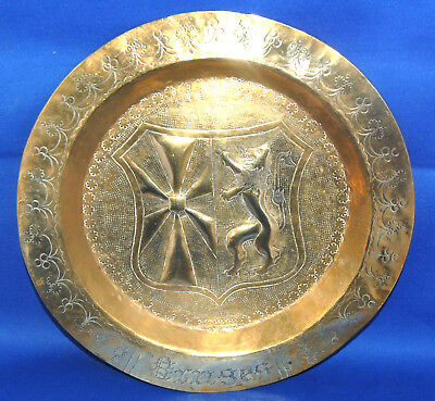 A very well decorated antique Victorian brass medieval, gothic, heraldic dish