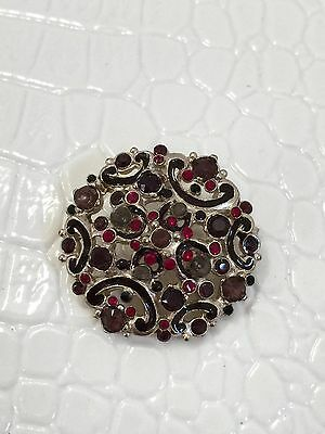 CHANEL BUTTON Rhinestones Classic Red Black Gold Tone Metal 23mm Authentic NEW