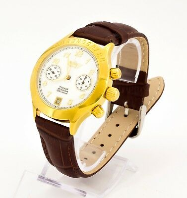 Poljot 3133 Russian chronograph gold plated mechanical wristwatch, 23 jewels
