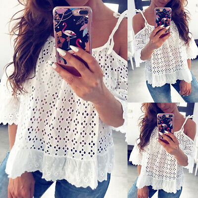 4b730cdc6006e2 Summer Womens Off Shoulder Blouse Ladies Loose Short Sleeve Lace T Shirt  Tops US