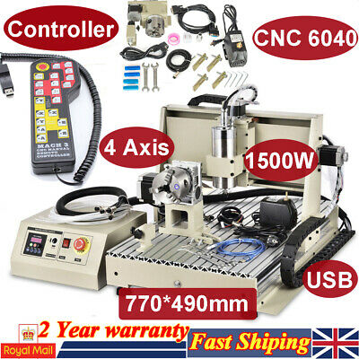 1500W 4 Axis CNC Router Engraver Metal Woodwork Engraving Milling Machine USB