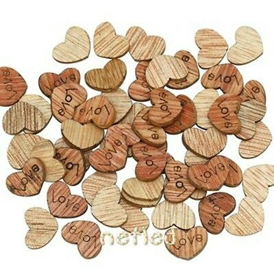 Creative 100* Wooden Rustic Love Heart Wood Piece Chip Wedding Table Scatter LK3