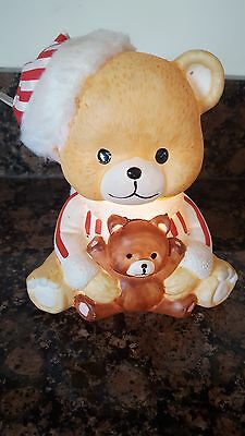 "Cute ""Ready For Bed""  6.5"" Lighted Teddy Bear Nite Light With On/Off Cord Switch"