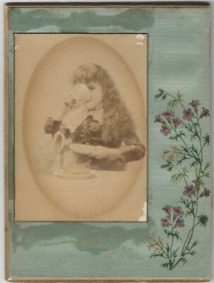 1882 Cabinet Card of Painting of Pretty Girl Tea Drinker Mounted on Silked Board
