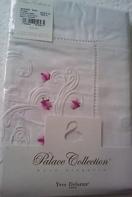Yves Delorme MYRIADE CYCLAMEN EMBROIDERED  Pair of STANDARD Pillowcases LUXURY