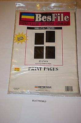 BESFILE 25 Pages for 4X6 PRITS ULTRA CLEAR ARCHIVAL Negative Pages