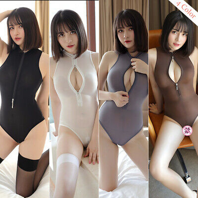 Women's Sexy Teddy Lingerie Zipper Crotchless Nightwear Babydoll Bodysuit