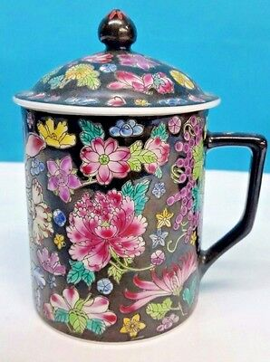 Antique Chinese Tea Cup With Lid & Floral Designs