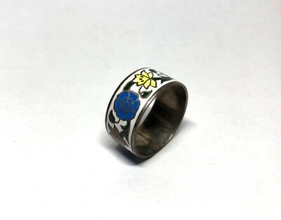 Vintage Siam Sterling Silver Enamel Band Ring Size 11 1/2