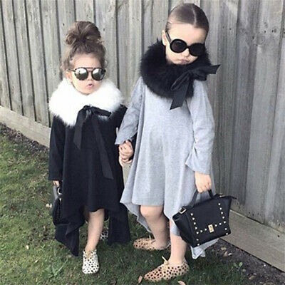 Plain Irregular Hem Girls Dress Long Sleeves Dresses Children Wear Kids Clothing