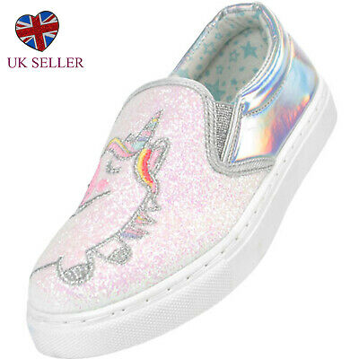 Girls Childrens Kids Pink Silver Unicorn Sparkly Skate Shoes Trainers Holiday