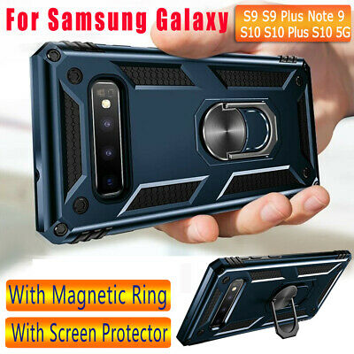 For Samsung Galaxy S10 Plus/S10/S10e Ring Stand Shockproof Case+Screen Protector
