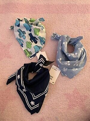H&M Baby Boys Blue Neck Scarves X3 NEW