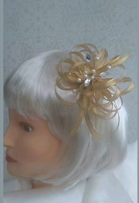 Gold shimmer fascinator/hatinator with pearls & clear jewels croc clip/head band