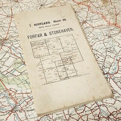 1915 Forvar Scot Map Ordnance Survey British Vintage Os Antique Old England Uk