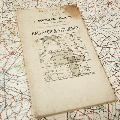 1912 Ballater Map Ordnance Survey British Vintage Os Antique Old Scotland Uk