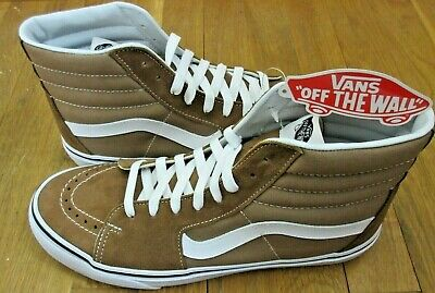 f88a39dedc Vans Mens Sk8-Hi Tigers Eye Brown True White Canvas Suede Skate shoes Size  10