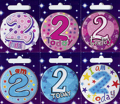 Age 2 2nd Birthday Badge Boy Girl Small Badge Party Gift Present