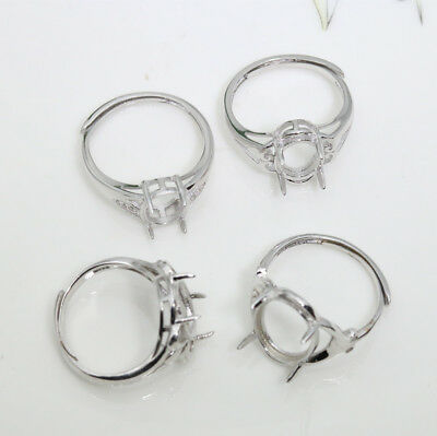 Diy really 925 sterling silver adjustable ring empty claws collet for Oval gem