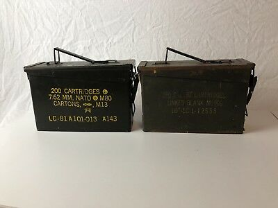 Lot of 2 MILITARY METAL AMMO CAN STORAGE Mg M60 M73 & 250 Cal United Scp