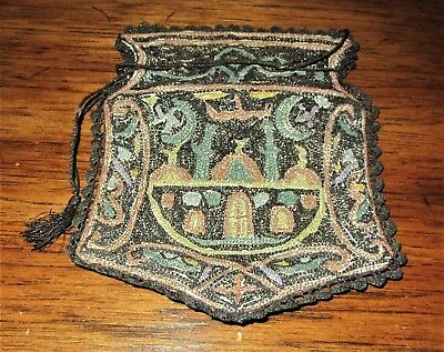 Old Rare Antique Ottoman Turkish Silk Purse Bag Hand Embroidered Pocketbook