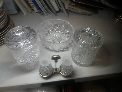 Vintage Group Of Four Cut Lead Crystal Items From Ireland, Bohemia & Germany