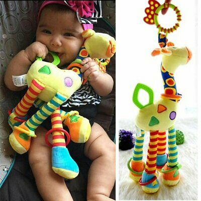 Newborn Infant Baby Bed Bells Soft Hanging Toys Giraffe Animal Handbells Rattles