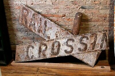 Vintage Cast Iron Railroad RR Sign Cross-buck Antique Railway Train Car Decor
