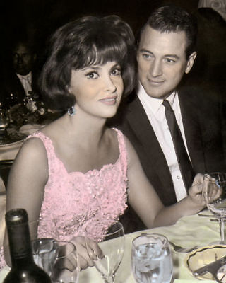 "GINA LOLLOBRIGIDA ROCK HUDSON HOLLYWOOD ACTORS 11x14"" COLOR TINTED PHOTOGRAPH"