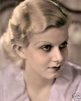 """JEAN HARLOW HOLLYWOOD ACTRESS & MOVIE STAR 8x10"""" HAND COLOR TINTED PHOTOGRAPH"""