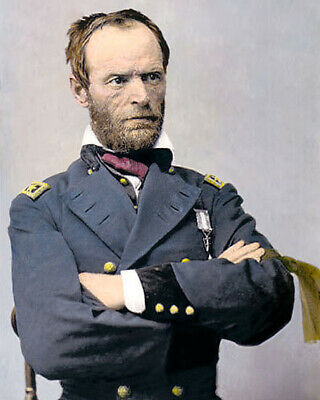 "WILLIAM T SHERMAN CIVIL WAR UNION GENERAL 1865 8x10"" HAND COLOR TINTED PHOTO"