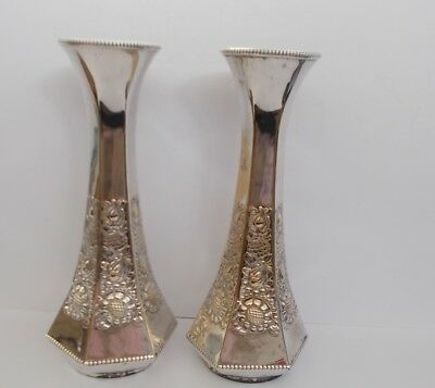 Early 1900 Pair Antique Wmf Art Nouveau Silver Plated Large Vases