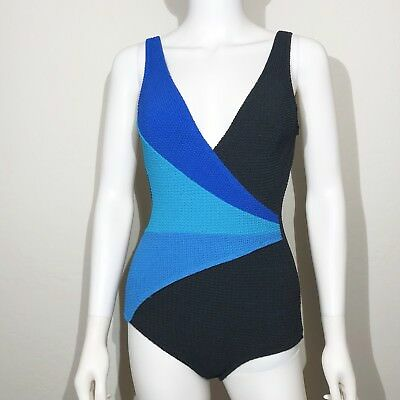5d4a032913a Vintage Robby Len Bathing Suit Small One Piece Black Blue 1970s Union Pin Up