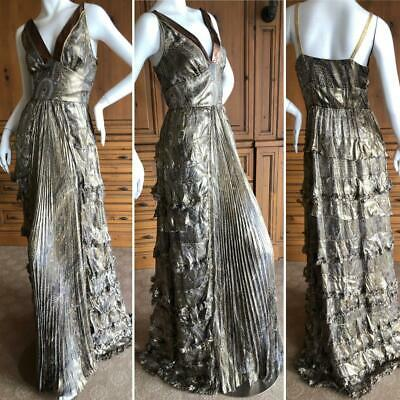 3ef8aa052c7b30 Dolce   Gabbana for D G Gold Silk Paisley Pleated and Ruffled Evening Dress