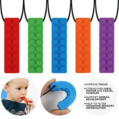 Kid Pencil Topper Chew Sensory Necklace Brick Autism Silicone Biting Teether Toy