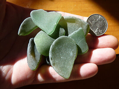 Hamptons Surf Tumbled Assorted Green Smooth & Frosty Sea Glass Lot of 10