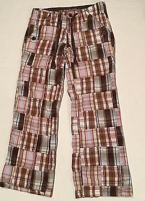 Limited Too Girls Patchwork Madras Plaid Brown Pink Pants Size 8