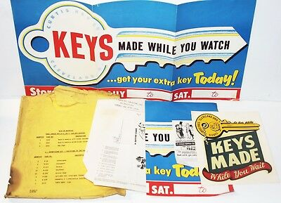 Vintage Curtis Industries Key Locksmith Advertising Kit, Sign, Banner, Sticker