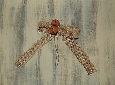 "PAIR of Burlap Bow Rusty Bells 1"" Wide Size Projects Primitive Country Style"