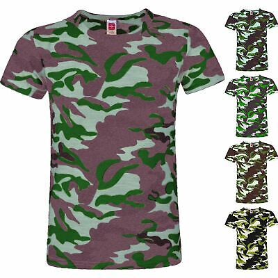 Kids Girls Boys Camo Army Combat T-shirt Camouflage Summer Vest Top 2-14 Yrs