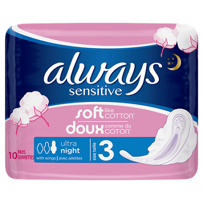 2x Always Sensitive Night Ultra (Size 3) Sanitary Towels Wings 10 Pads