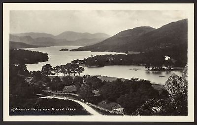 English Lake District - Coniston Water from Beacon Crags - Vintage RP Postcard