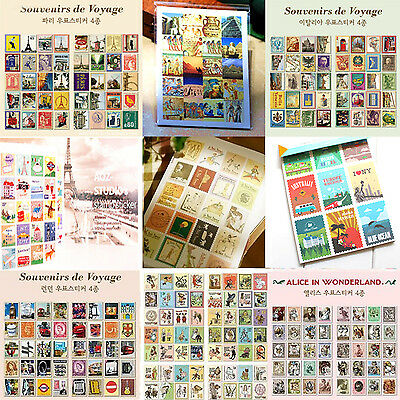 STAMP STICKERS Vintage Craft Italy Paris London Diary Kids Card Stationery Paper