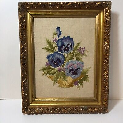 "Pansies Finished and Framed Crewel Embroidery 12.5"" x 15.5"" Rococo Frame"