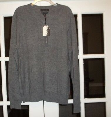 MENS TAHARI PURE Luxe 100% Cashmere Crew Neck Sweater Large