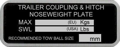 Trailer Chassis Nose Weight Plate Hitch Knott Alko Coupling Towbar  Ball Car Box