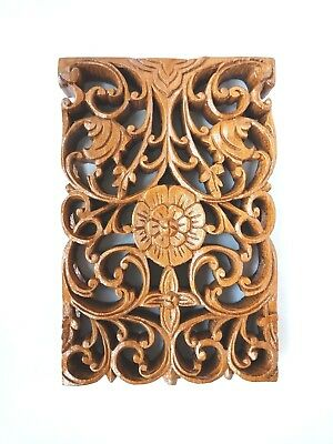 Wooden Craft Teak Wood Perforated Wall Pole Flora Traditional Asian Decoration