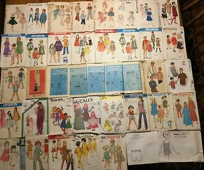 HUGE Lot 40 Vtg Kid Childrens Clothing Sewing Patterns Boy Girl Baby Toddler